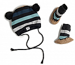 striped knit hat and booties set
